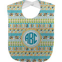 Abstract Teal Stripes Baby Bib (Personalized)