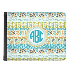 Abstract Teal Stripes Genuine Leather Men's Bi-fold Wallet (Personalized)