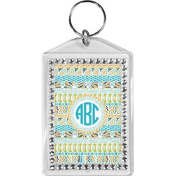 Abstract Teal Stripes Bling Keychain (Personalized)