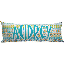 Abstract Teal Stripes Body Pillow Case (Personalized)