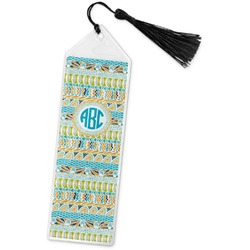 Abstract Teal Stripes Book Mark w/Tassel (Personalized)