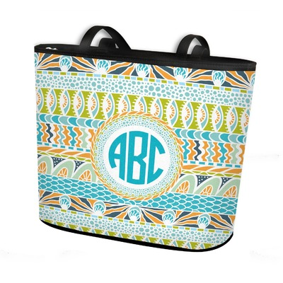 Abstract Teal Stripes Bucket Tote w/ Genuine Leather Trim (Personalized)