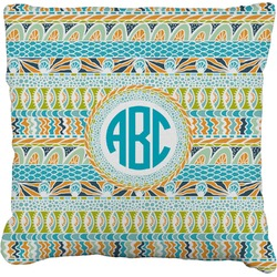 """Abstract Teal Stripes Faux-Linen Throw Pillow 26"""" (Personalized)"""