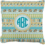 Abstract Teal Stripes Faux-Linen Throw Pillow (Personalized)