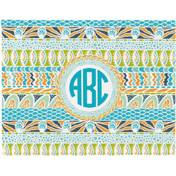 Abstract Teal Stripes Woven Fabric Placemat - Twill w/ Monogram