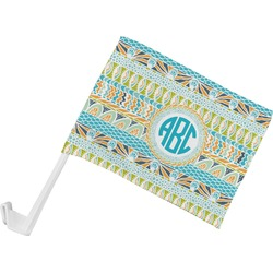 Abstract Teal Stripes Car Flag (Personalized)