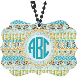 Abstract Teal Stripes Rear View Mirror Decor (Personalized)
