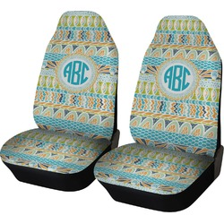 Abstract Teal Stripes Car Seat Covers (Set of Two) (Personalized)