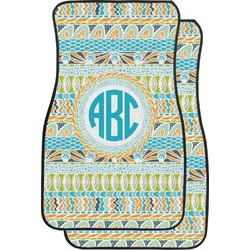 Abstract Teal Stripes Car Floor Mats (Front Seat) (Personalized)