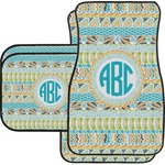 Abstract Teal Stripes Car Floor Mats (Personalized)