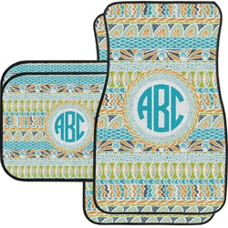 Abstract Teal Stripes Car Floor Mats Set - 2 Front & 2 Back (Personalized)