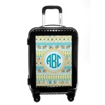 Abstract Teal Stripes Carry On Hard Shell Suitcase (Personalized)