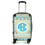 Abstract Teal Stripes Suitcase (Personalized)