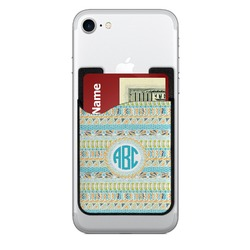 Abstract Teal Stripes 2-in-1 Cell Phone Credit Card Holder & Screen Cleaner (Personalized)