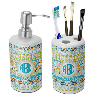 Abstract Teal Stripes Ceramic Bathroom Accessories Set (Personalized)