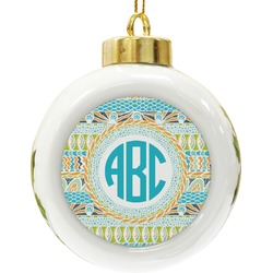 Abstract Teal Stripes Ceramic Ball Ornament (Personalized)