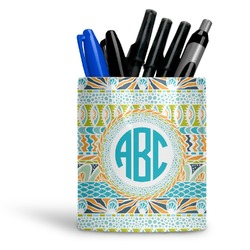 Abstract Teal Stripes Ceramic Pen Holder