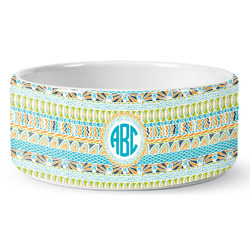 Abstract Teal Stripes Ceramic Pet Bowl (Personalized)