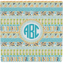 Abstract Teal Stripes Ceramic Tile Hot Pad (Personalized)