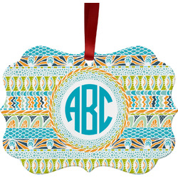 Abstract Teal Stripes Ornament (Personalized)