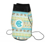 Abstract Teal Stripes Neoprene Drawstring Backpack (Personalized)