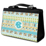 Abstract Teal Stripes Classic Tote Purse w/ Leather Trim (Personalized)