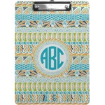 Abstract Teal Stripes Clipboard (Personalized)