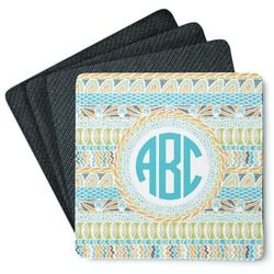 Abstract Teal Stripes 4 Square Coasters - Rubber Backed (Personalized)