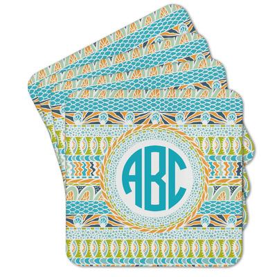 Abstract Teal Stripes Cork Coaster - Set of 4 w/ Monogram