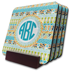 Abstract Teal Stripes Coaster Set w/ Stand (Personalized)