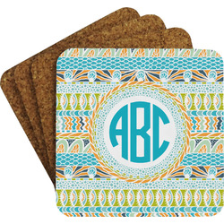 Abstract Teal Stripes Coaster Set (Personalized)