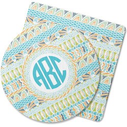 Abstract Teal Stripes Rubber Backed Coaster (Personalized)