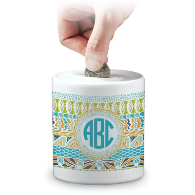 Abstract Teal Stripes Coin Bank (Personalized)