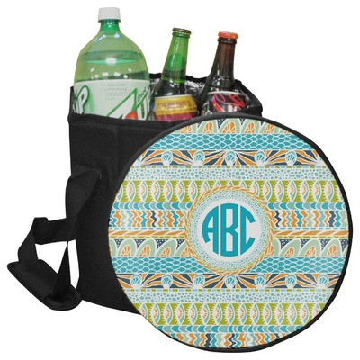 Abstract Teal Stripes Collapsible Cooler & Seat (Personalized)