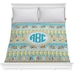 Abstract Teal Stripes Comforter (Personalized)