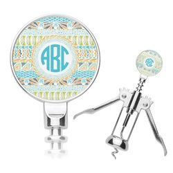 Abstract Teal Stripes Corkscrew (Personalized)