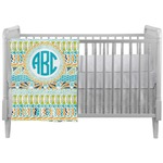 Abstract Teal Stripes Crib Comforter / Quilt (Personalized)