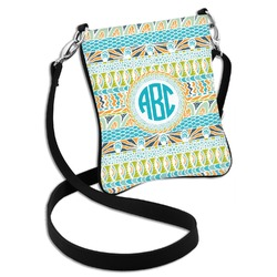 Abstract Teal Stripes Cross Body Bag - 2 Sizes (Personalized)