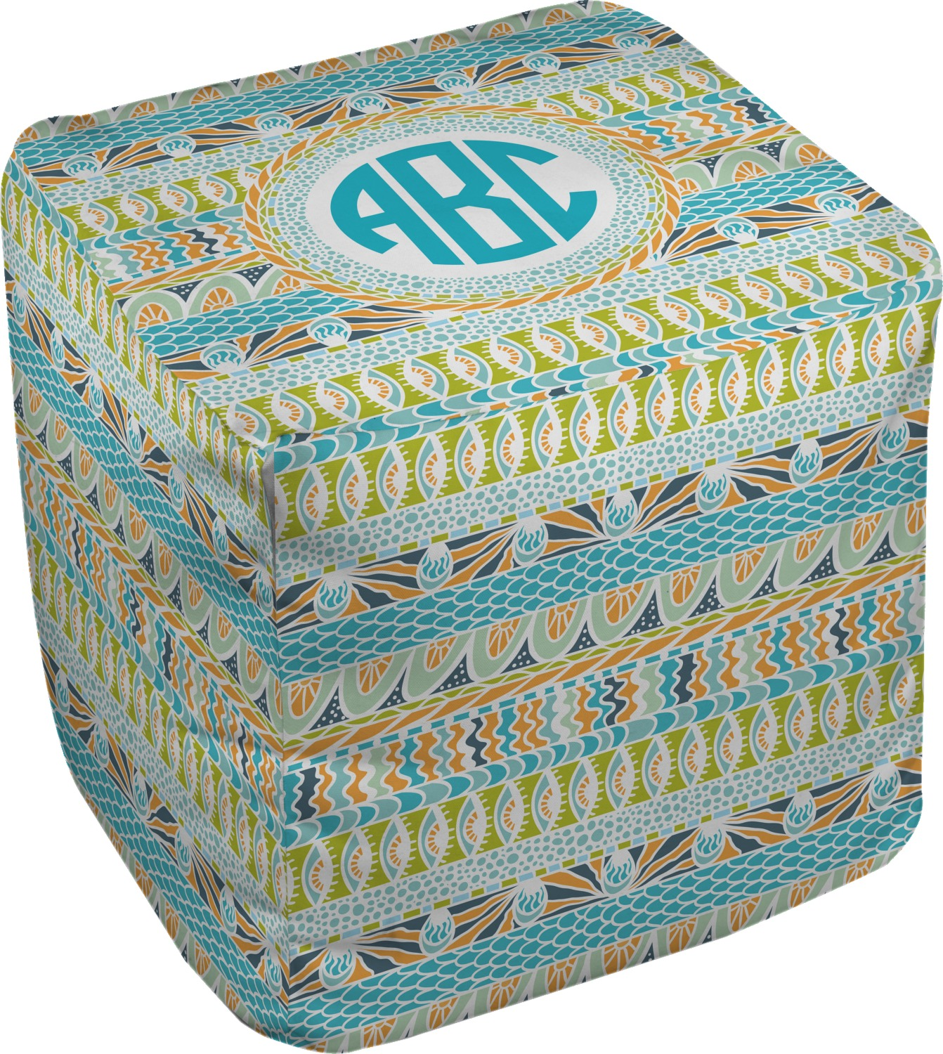 Abstract Teal Stripes Cube Pouf Ottoman 18