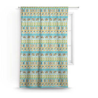 Abstract Teal Stripes Curtain (Personalized)
