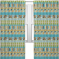 Abstract Teal Stripes Curtains (2 Panels Per Set) (Personalized)