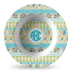 Abstract Teal Stripes Plastic Bowl - Microwave Safe - Composite Polymer (Personalized)