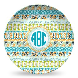 Abstract Teal Stripes Microwave Safe Plastic Plate - Composite Polymer (Personalized)