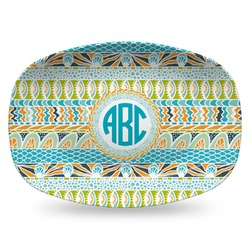 Abstract Teal Stripes Plastic Platter - Microwave & Oven Safe Composite Polymer (Personalized)