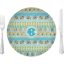 """Abstract Teal Stripes 10"""" Glass Lunch / Dinner Plates - Single or Set (Personalized)"""