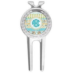 Abstract Teal Stripes Golf Divot Tool & Ball Marker (Personalized)