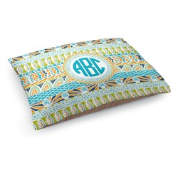 Abstract Teal Stripes Dog Pillow Bed (Personalized)