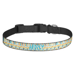Abstract Teal Stripes Dog Collar (Personalized)