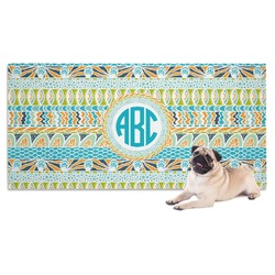 Abstract Teal Stripes Dog Towel (Personalized)