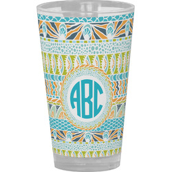 Abstract Teal Stripes Drinking / Pint Glass (Personalized)